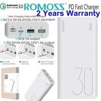 Romoss PD Power Bank 30000mah QC 3.0 Quick Charge Powerbank 30000 mah 9V 2A 12V 1.5A for iPhone X Xiaomi Mi8 Samsung S9 Nexus 6p