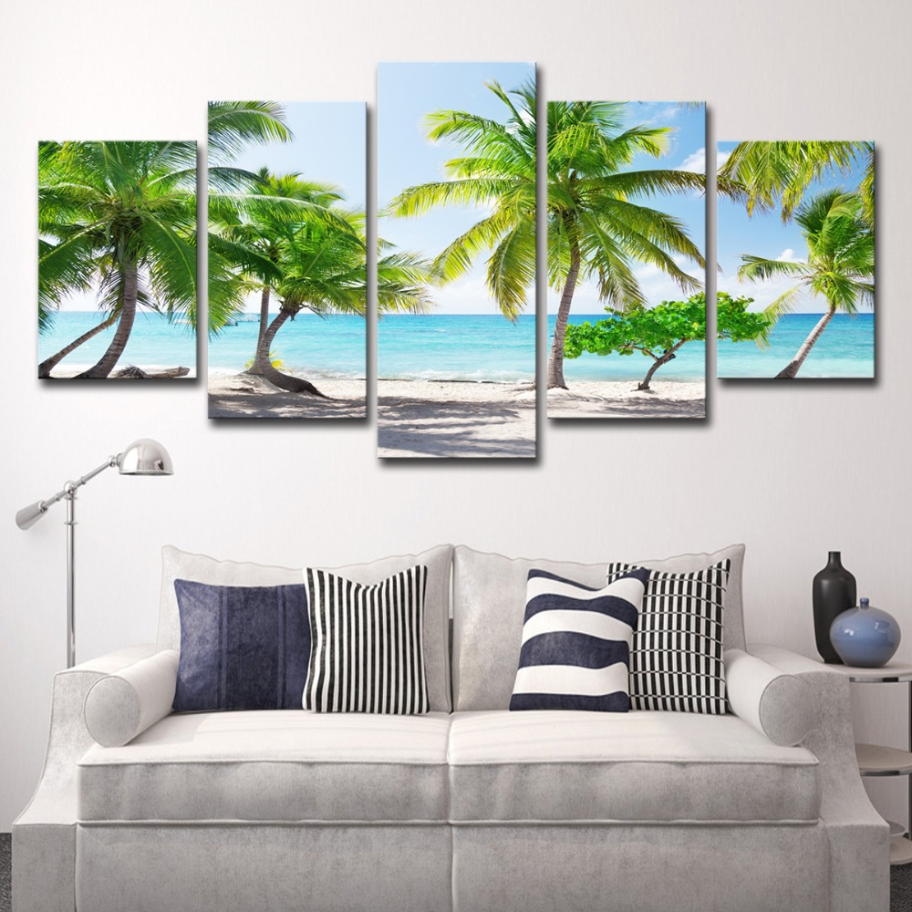 5P0147 HD Printed Canvas Poster Home Decor Modular Pictures Frame 3 Pieces Santa Catalinna Island Beach Coconut Trees Paintings PENGDA (19)