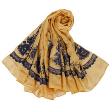 shawl cotton linen scarf flowers embroidery exotic mono long hijabs soft viscose neck stole muslim women headscarf