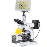 AmScope 40X 1000X Upright Fluorescence Microscope with Rotating Multi filter Turret + HDMI Camera + Screen FM820T HD18 HDM