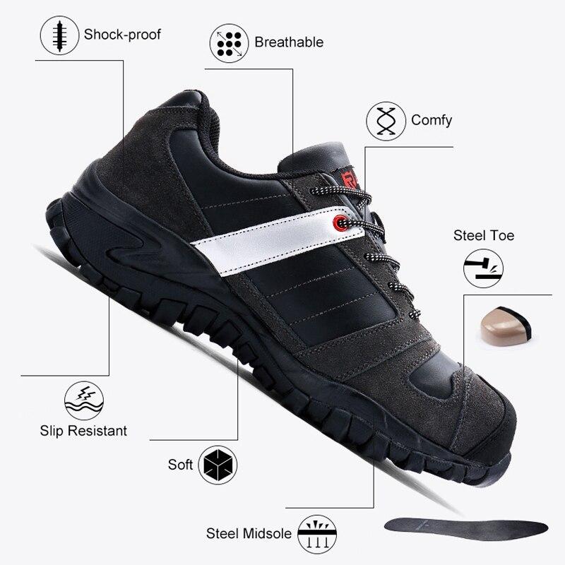 Aire gray Punción Calzado Hombres Puntera Modyf Acero Prueba Cuero Trabajo Deporte De kick Casual Black Anti Al Zapatos Seguridad Zapatillas Libre Genuino p16wFqxf