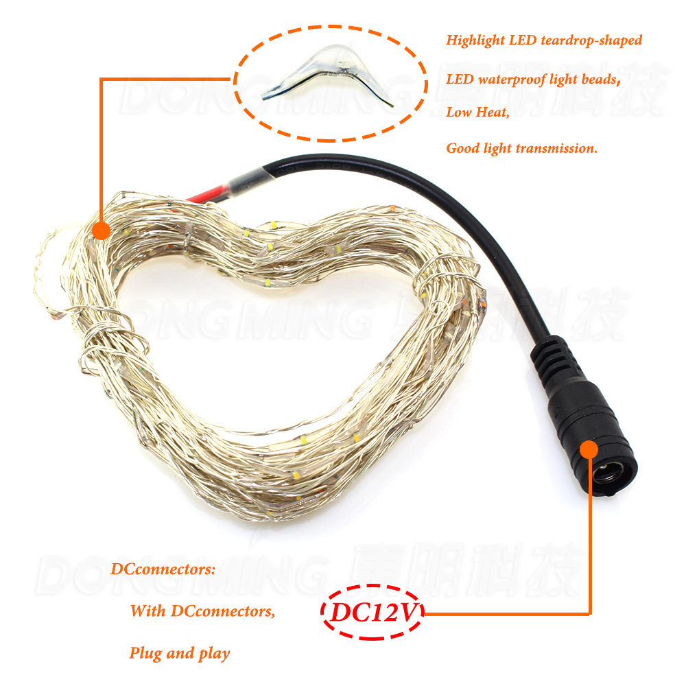 10m 100leds DC12V led string light Waterproof fairy lights led christmas lighting with dc connector silver copper wire