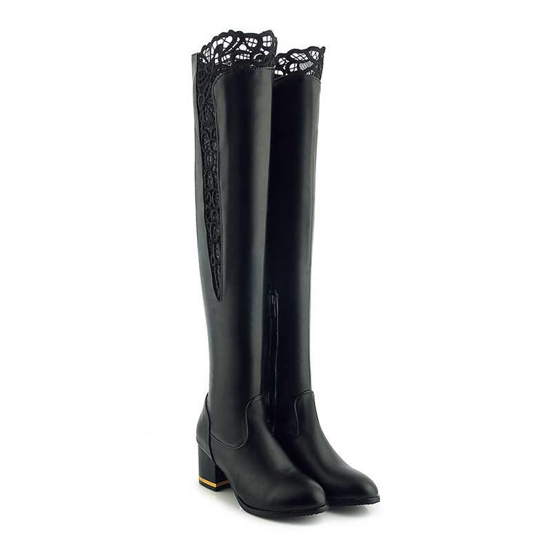 WETKISS artı boyutu 33-46 Pu kadın diz üzerinde çizmeler yuvarlak ayak ayakkabı dantel yüksek topuklu kadın çizme zip ayakkabı kadın 2020 kış