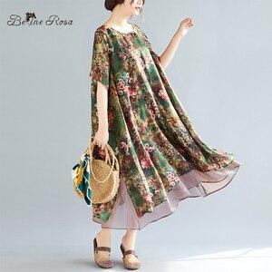 Image 2 - Женское винтажное шифоновое платье BelineRosa, летнее платье большого размера плюс с цветочным принтом, 4XL, 5XL, XMR00107
