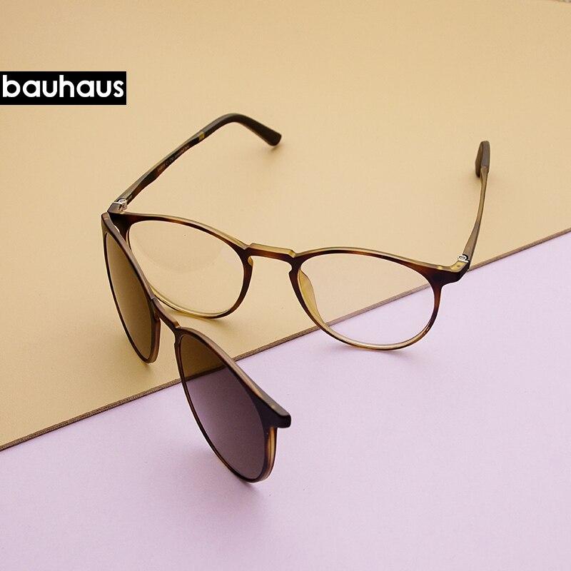 Bauhaus Ímã Óculos de Aro Cheio de Prescrição Frame Ótico Espetáculo Rodada Do Vintage Miopia óculos de Sol de polarização Anti Glare