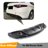 On Sale Giulia Change to 2 Outlet PP Rear Bumper Diffuser with Exhaust Tips for Alfa Romeo Giulia 2016 2017 2018 2019