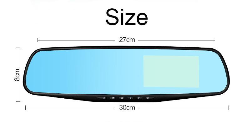 E-ACE Car Dvr 1080P Dual Lens Dash Camera Rear Mirror Digital Recorder With Rearview Camera Video Recorder Camcorder Registrar 25