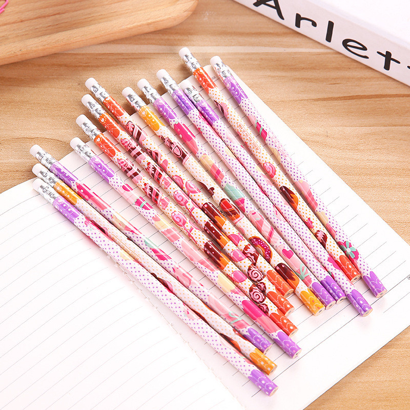 12Pcs Creative Cute Cake Girl Kawaii Pencil HB Eraser School Stationery Store Lovely Drawing Pen Kids Gift Tool Office Supply