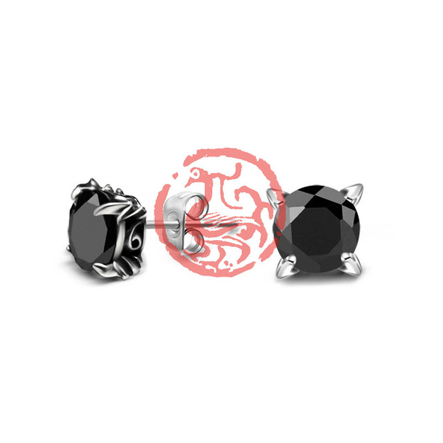 Large Black Aaa Cubic Zirconia Stud Earrings For Men Women Hip Hop Jewelry Anium Stainless Steel