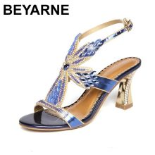069feb4c9a00 BEYARNE Summer new female sandals diamond stiletto heel leather sexy  wedding peep-toe shoes Bohemian fashion women s shoes