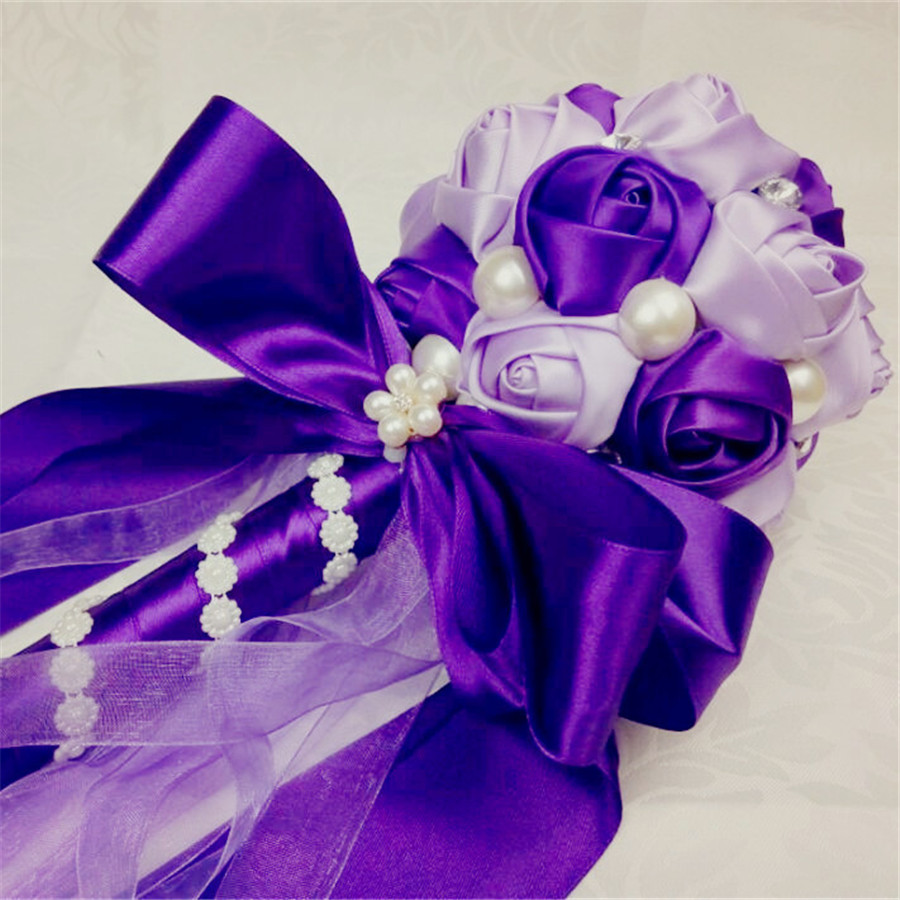 Compare prices on purple flowers wedding bouquets online shopping purple silk wedding bouquet customized crystal pearl satin flower bouquet bead rose flower ribbon bridal bouquet dhlflorist Image collections