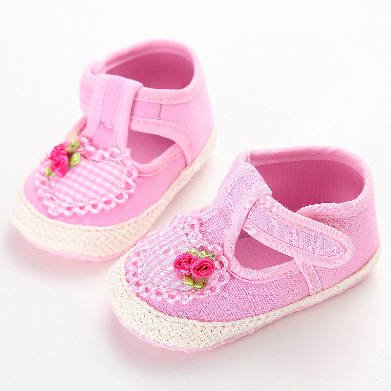 Baby Girls Princess Shoes Infant Toddler Crib Bebe Kids First Walkers Mary Jane Canvas Flower Soft Soled Anti-Slip Dress Shoe