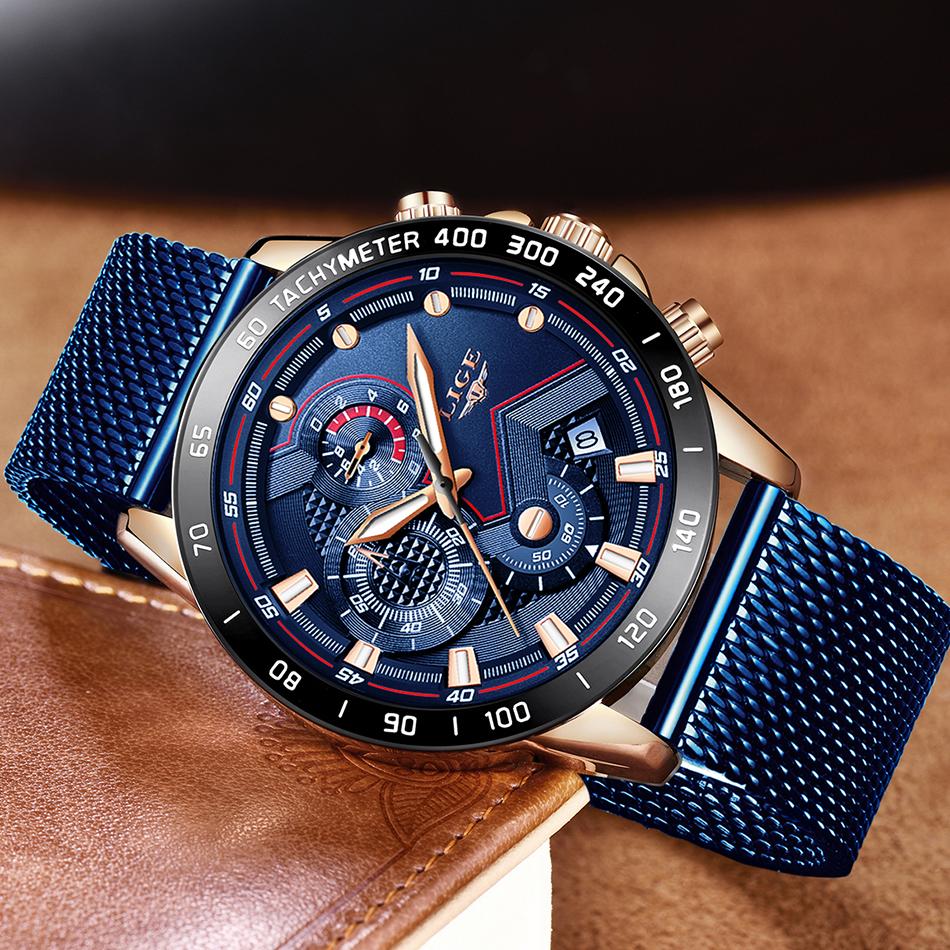 LIGE azul Casual malla Correa moda cuarzo oro reloj para hombre relojes marca superior reloj impermeable de lujo 12