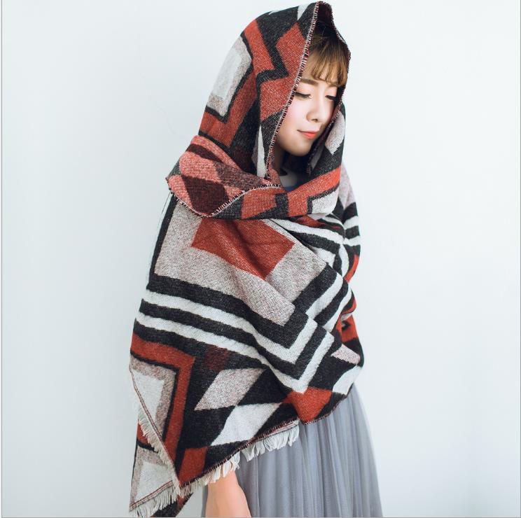 Women Scarf Winter Fall Wool Women Scarves Long Wraps Shawls Thick Warm Cotton Pashmina Cashmere Printed Womens Scarf