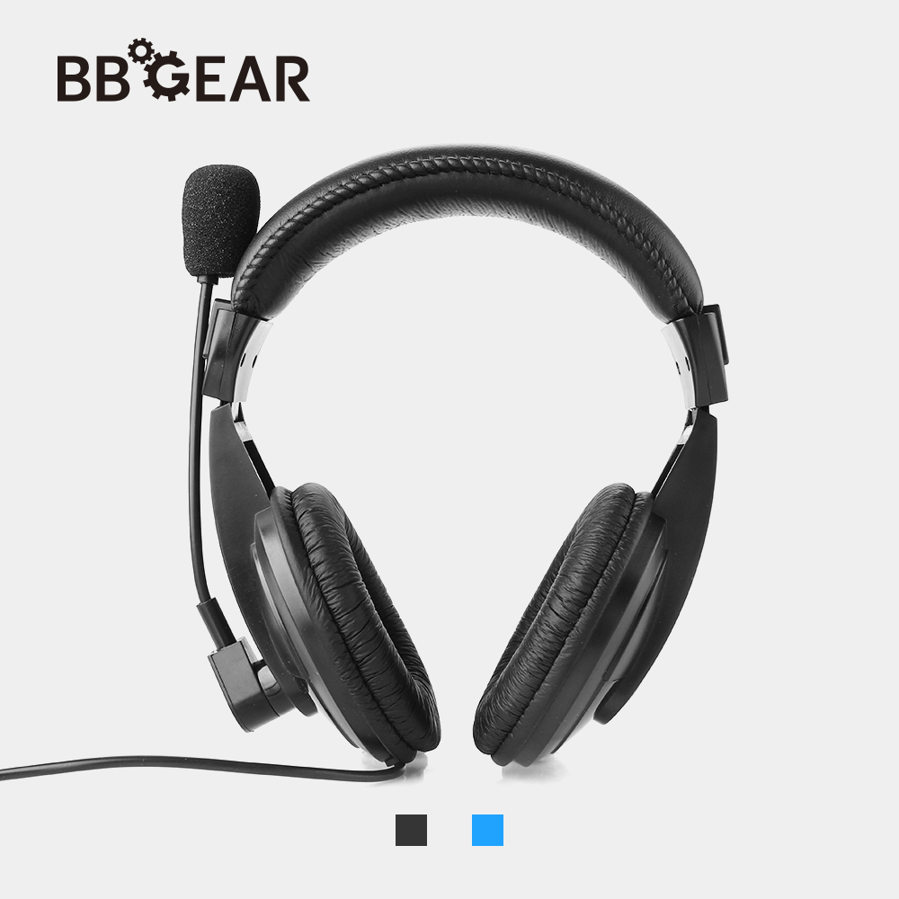 BBGear Gaming Headphone 3.5mm Wired Stereo Music Headset with Microphone Headband Earphone for Mobile Phone Ipad PC Music Player yongle ep11 stereo 3 5mm headband earphone w microphone for mobile phone laptop cable 140cm