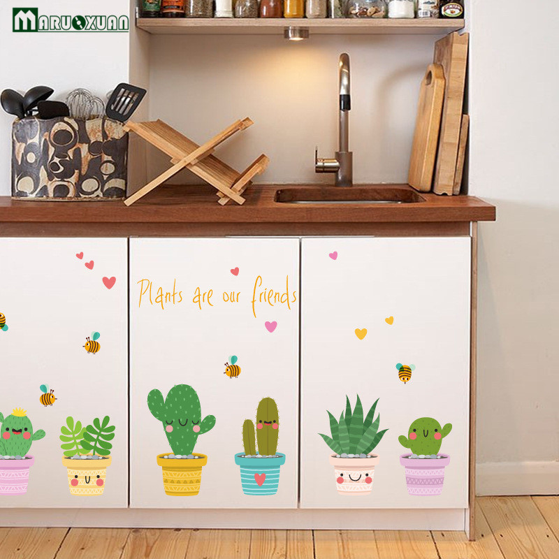 decorative stickers for kitchen cabinets creative green potted cabinet kitchen glass stickers 8590