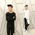 Удлиненная расширить хип-хоп майка мужчин с длинным рукавом черный белый цвет рок панк одежда корейские прохладный