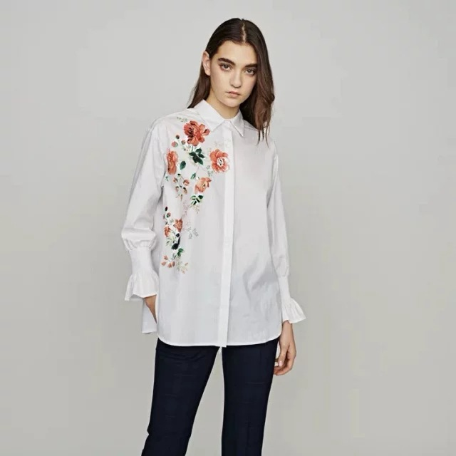 2019 Spring and Summer New Embroidered Women Shirt Womens Tops and Blouses