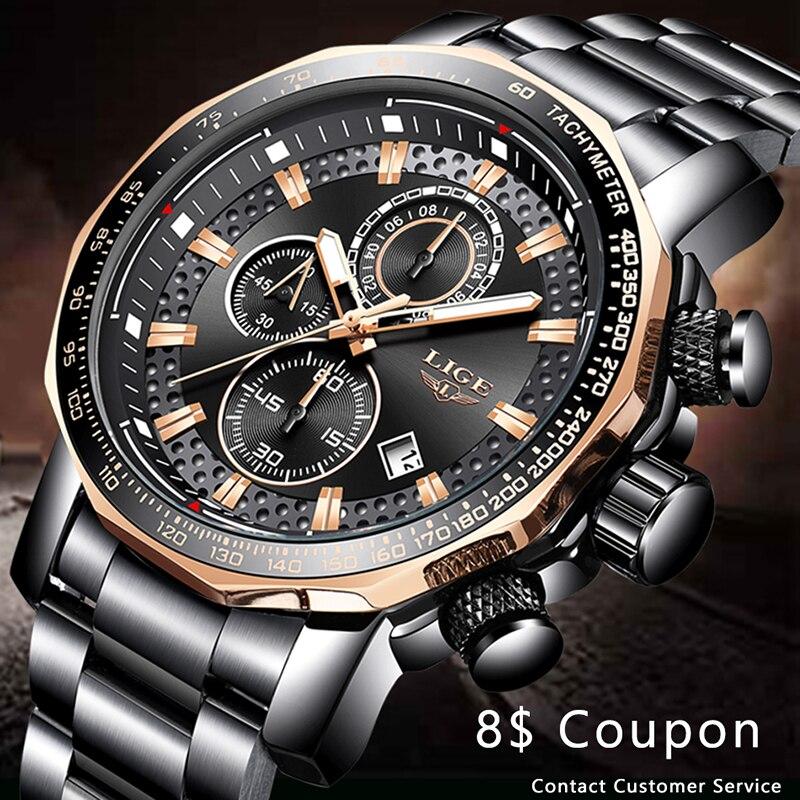 LIGE hommes montres Top marque de luxe hommes mode de luxe montre en acier inoxydable étanche montre-bracelet Quartz horloge Relogio Masculino