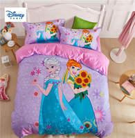 Фиолетовый принцесс Анны и Эльзы постельного белья двойной размер одеяло пододеяльники для детей Спальня Декор королева простыней хлопка