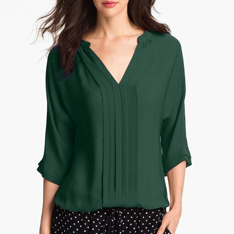 Women Summer Middle Sleeve Chiffon   Blouses   Fashion Hot Style V-Neck Chiffon   Shirt   Simple Design All Match   Shirts   OL Basic Top