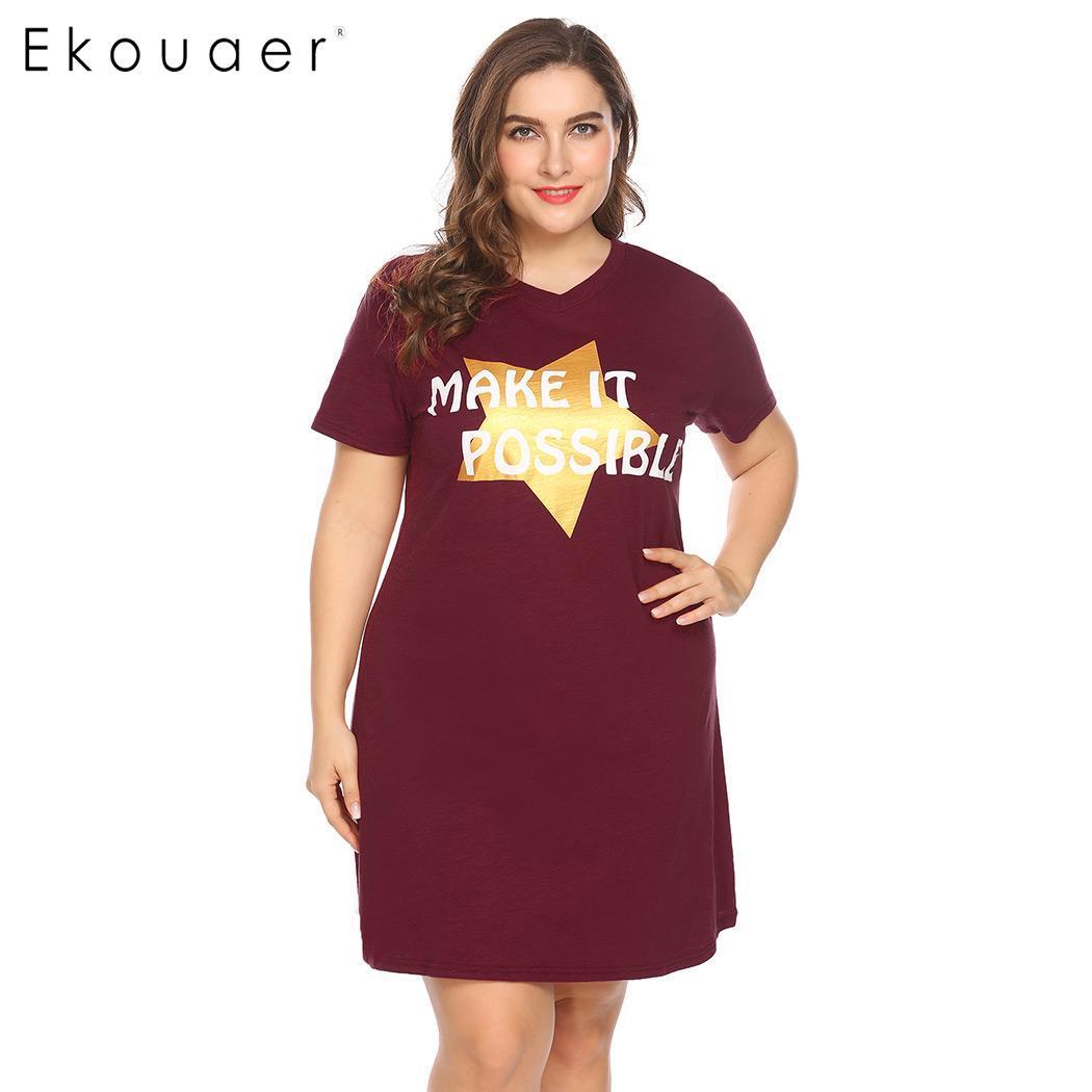 Ekouaer Women Big Size Nightdress Sleepwear Short Sleeve Letter Star Print V-Neck Sleepshirt Nightgown Female Plus Size Homewear 2
