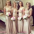 2016 Bridesmaid Dresses Jewel Neck Short Sleeve With Sequined Lace Floor Length Sheath Party Dress Formal Vestido Prom Gowns