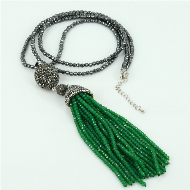 boho green glass beaded tassel pendant cutted natural black hematite beads  chain rhinestone connector charms necklace c8c612eed165