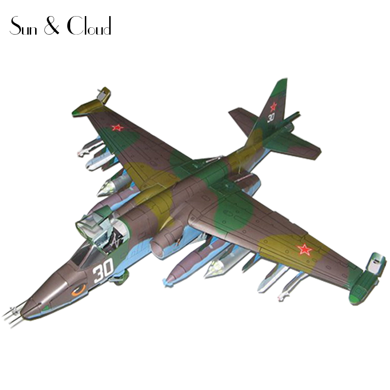 1:33 DIY 3D Belarus Sukhoi Su 25 Fighter Plane Aircraft