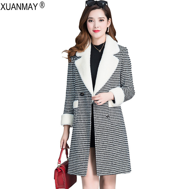 8bef7ebe2 US $44.84 24% OFF 2018 new Winter Long style Woolen Coat Jacket Thick  Korean version loose Houndstooth double breasted Thick Coat female-in Wool  & ...