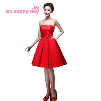 girls formal red bridesmaid bridesmaids dresses for teens special women dress princess knee length weddings and events H2905