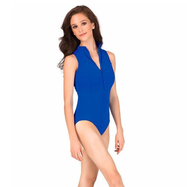 e8556ff9f Female Front Zipper Spandex Bodysuit Ballet Dancewear Gym Leotards ...
