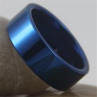 Costumes frete Grátis Gravura Anel Hot Vendas 8 MM Azul Brilhante Tubo de Nova Moda masculina de Tungstênio Anel de Casamento