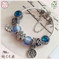 Luxuxious Brand Silver Jewelry Gift  Blue Silver Charm Series 100% 925 Sterling Silver Famous Charms Bracelet