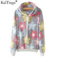 KaiTingu Autumn Winter Long Sleeve Women Sweatshirt Harajuku Star Print Hoodies Kawaii Totoro Panda Tracksuit Jumper