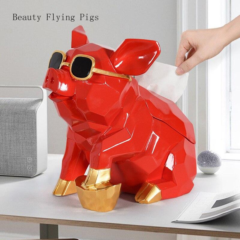 Nordique ins mignon riche cochons plateau créatif géométrique décoration de la maison ornements salon table basse serviettes livraison gratuite