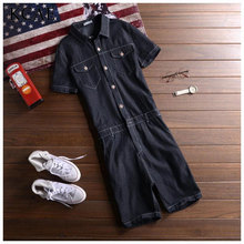 Men's fashion Brand pocket denim overalls for boys Male casual Slim jumpsuits Plus large size jeans Bib pants Free shipping