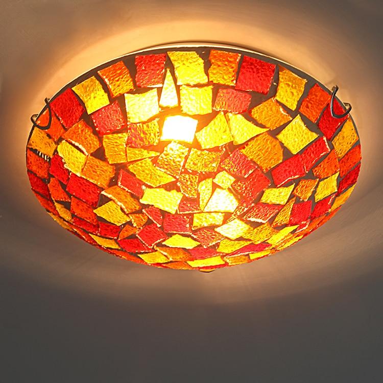 Tiffany rustiek mozaïek kleurrijk glas LED plafond - Binnenverlichting