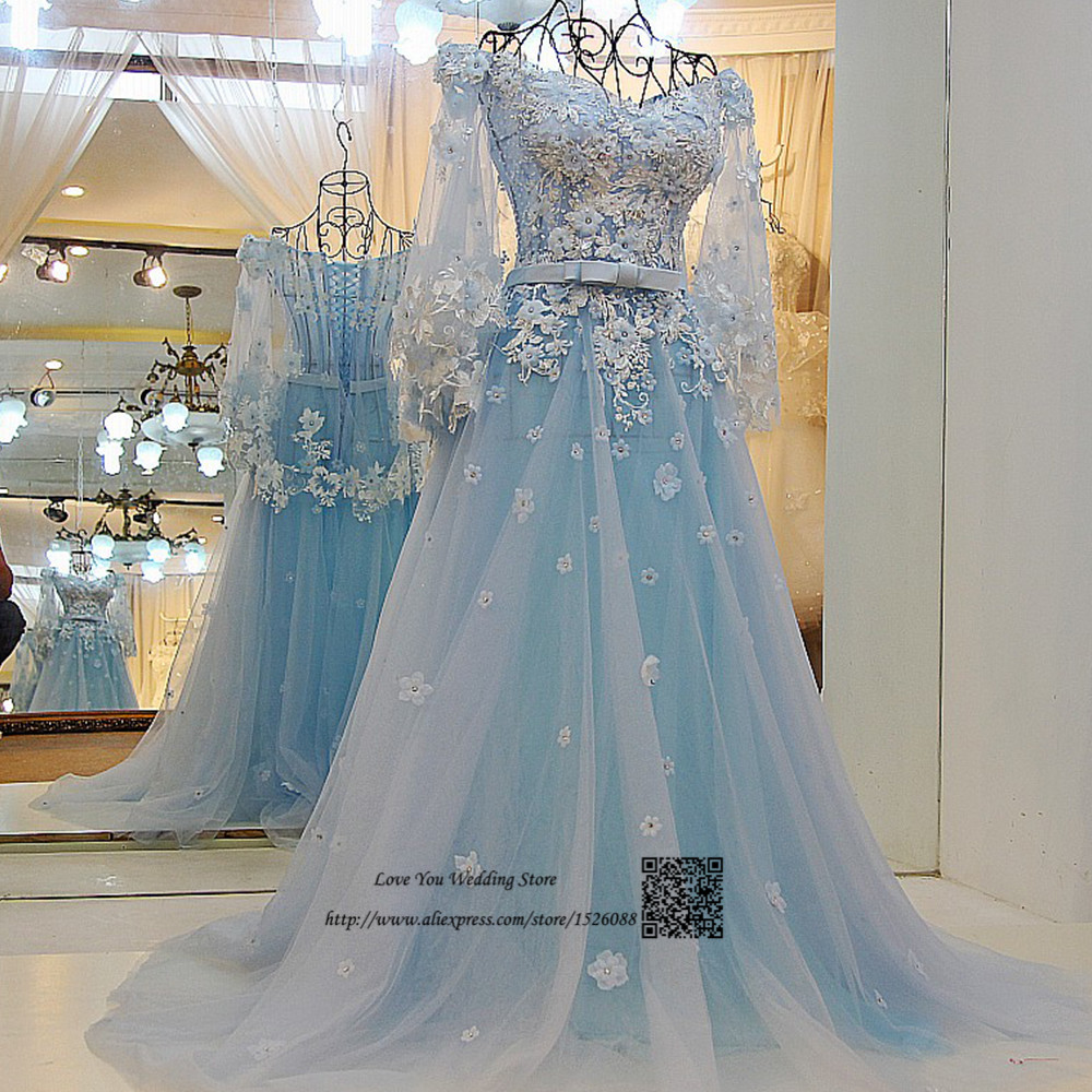 Trouwjurk Light Blue Wedding Dress Boho Vintage Wedding Gowns Lace ...