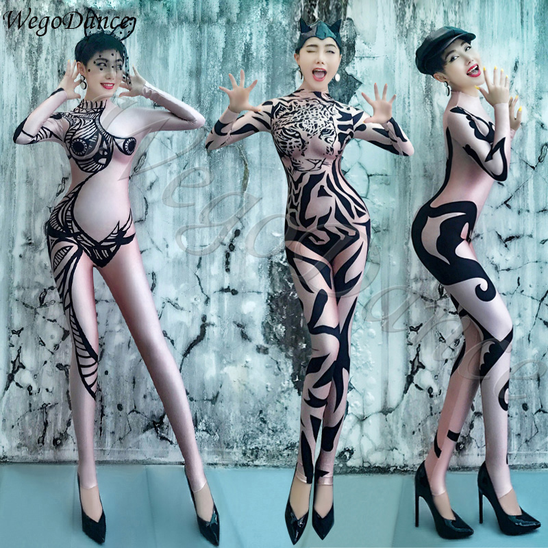 DS New Fashion Sexy Printing Evening Dress Gogo Female Singers Dancers Costume Freeshipping