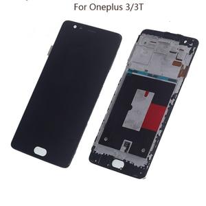 Image 1 - 5.5 بوصة AMOLED عرض ل Oneplus 3t A3010 Oneplus 3 A3000 A3003 LCD محول الأرقام بشاشة تعمل بلمس الشاشة إصلاح أجزاء مع الإطار