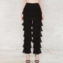 Черные Облегающие многоуровневый взъерошенный брюки женские весенние уличные стильные Многослойные брюки женские осенние модные повседневные сексуальные длинные брюки