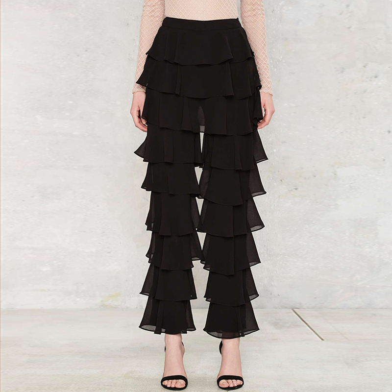 Black Slim Fit Tiered Ruffled Pants Women Spring Street Stylish Layered Pants Ladies Autumn Fashion Casual Sexy Long Trousers