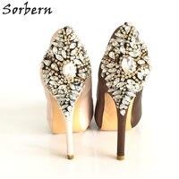 Sorbernแชมเปญคริสตัลซาตินรองเท้าแต่งงานมองลอดRhinestones