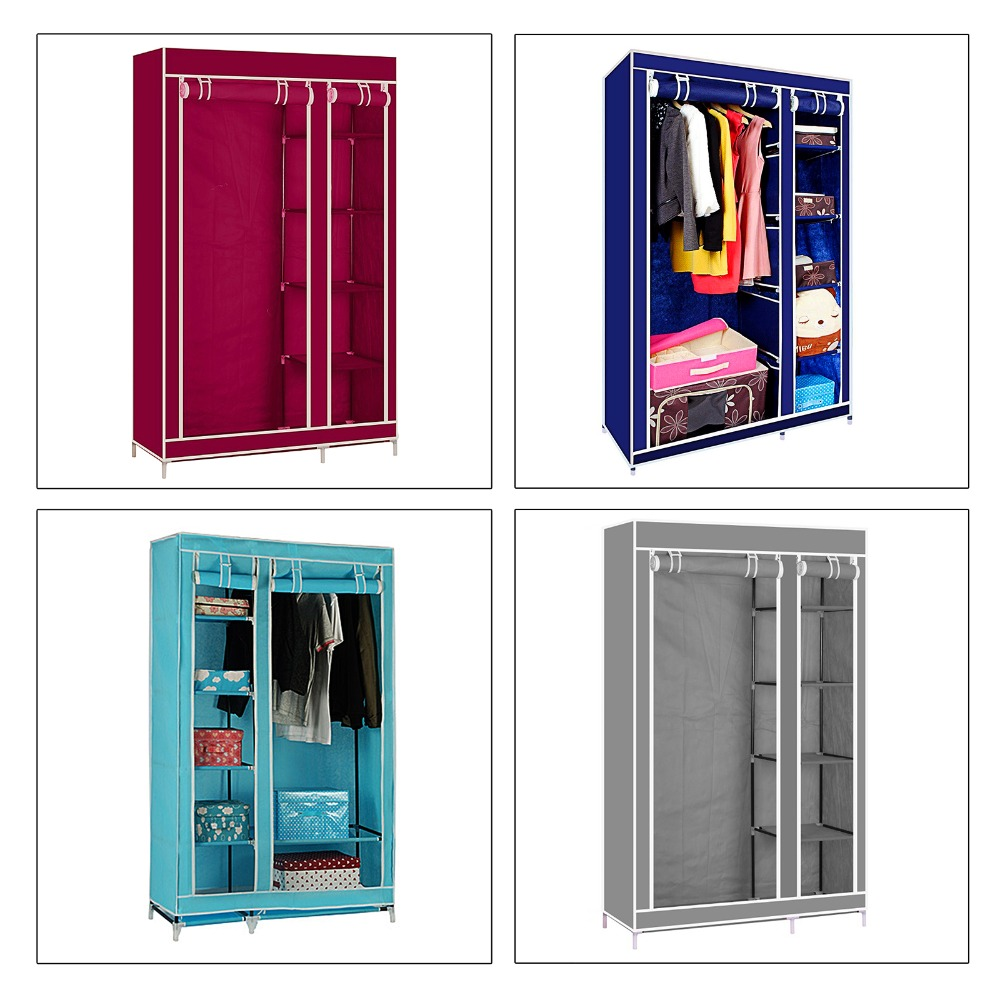 175CM Double Canvas Wardrobe Folding Clothes Cabinet With Zipper DIY Cupboard Hanging Rail Storage Dust Proof