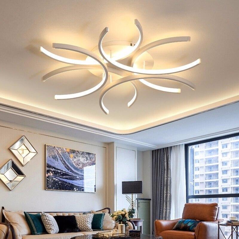 LICAN Aluminum Wave Avize Lustre for Home decor 110V 220V White Chandeliers LED Modern Ceiling Chandelier Lighting-in Chandeliers from Lights & Lighting