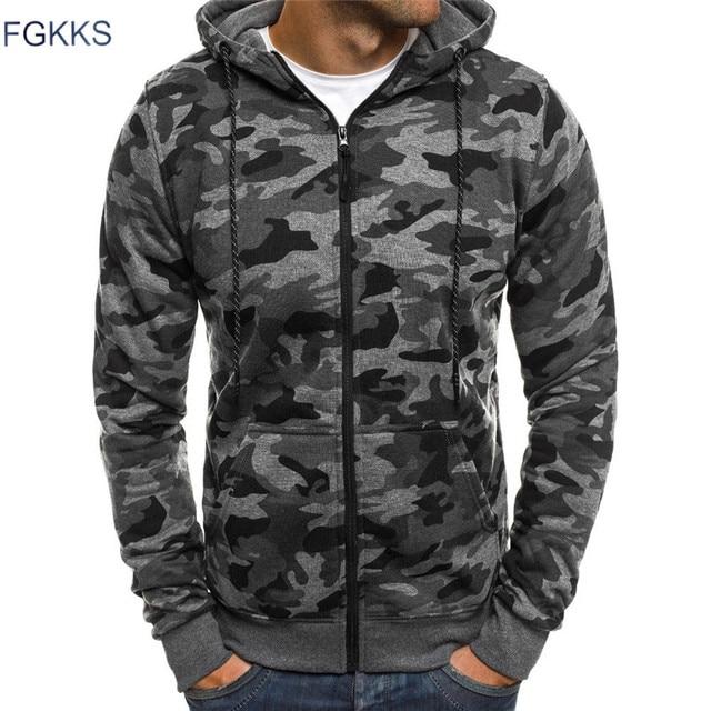 FGKKS Мода 2018 г. Для Мужчин's толстовки Толстовка мужчин Slmi Высокое качество Военная Униформа тонкий Спортивная камуфляж
