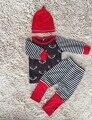 Mameluco Del Bebé Recién Nacido Niños Niñas Ropa de Navidad Ciervos de navidad Rojo Casual Mono Mamelucos Del Bebé Trajes H00134