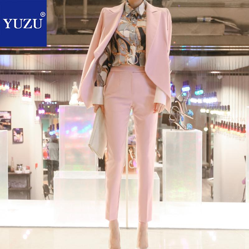 Pink Women Jacket Pant Suits Office 2 Piece Set Autumn Winter Double Breasted Long Sleeve Pocket Blazer Jacket+Office Lady Pants