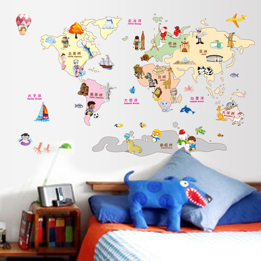 Removable wall stickers cartoon world map wall sticker wallpaper removable wall stickers cartoon world map wall sticker wallpaper paste childrens room nursery classroom layout in wall stickers from home garden on gumiabroncs Images